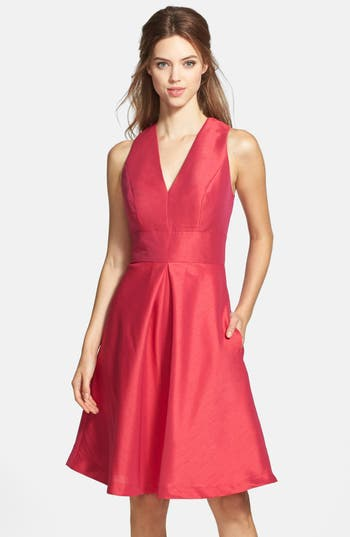 Alfred Sung V-Neck Dupioni Cocktail Dress, Red