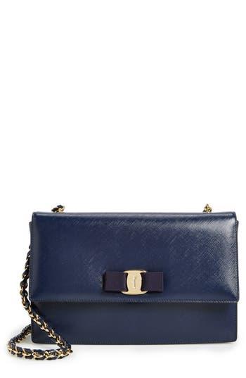 Salvatore Ferragamo 'Ginny' Saffiano Leather Shoulder Bag - Blue