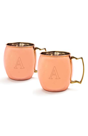 Cathy's Concepts Monogram Moscow Mule Copper Mugs