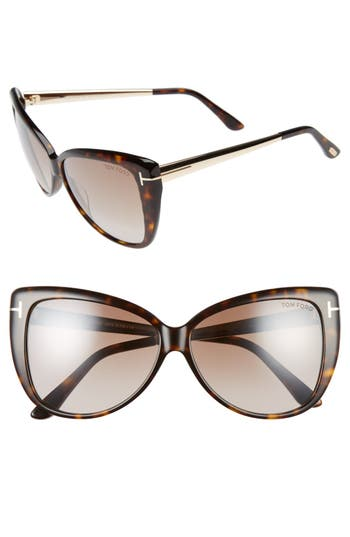 Tom Ford Reveka 5m Gradient Cat Eye Sunglasess - Havana/ Rose Gold/ Brown Flash