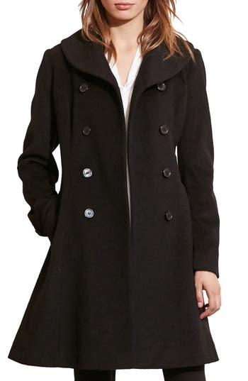 Women's Lauren Ralph Lauren Fit & Flare Military Coat, Size 0 - Black
