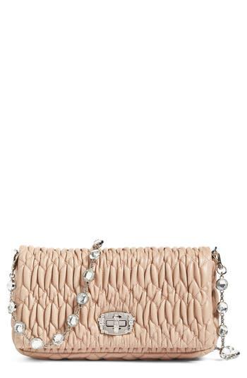 Miu Miu Small Crystal Embellished Nappa Shoulder Bag -