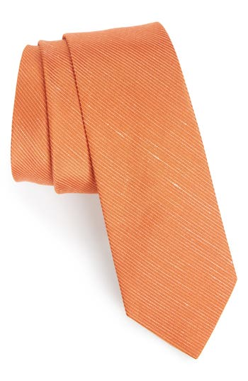 Men's The Tie Bar Pinstripe Silk & Linen Tie, Size Regular - Orange