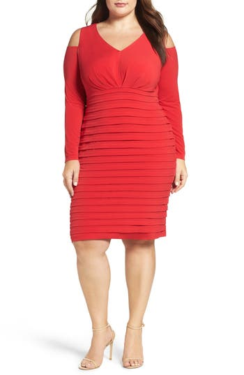 Plus Size London Times Cold Shoulder Shutter Pleat Jersey Sheath Dress, Red