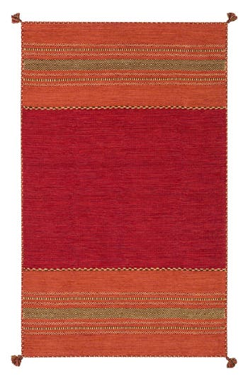 Surya Home Trenza Global Stripe Rug, Size Swatch - Red