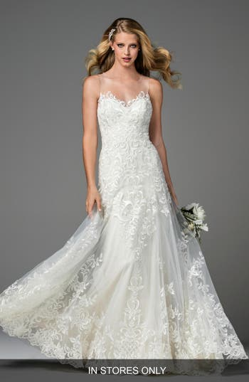Watters Dame Illusion Neckline Lace A-Line Gown