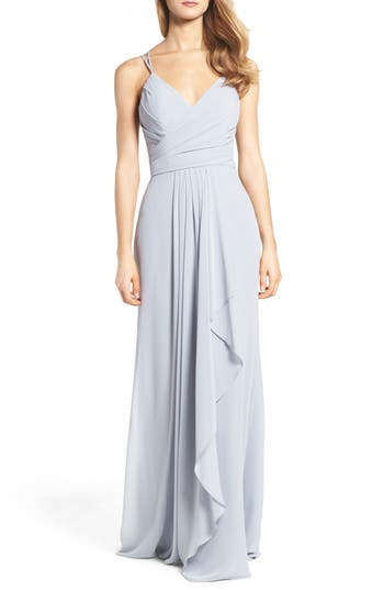 Hayley Paige Occasions Chiffon Gown, Grey