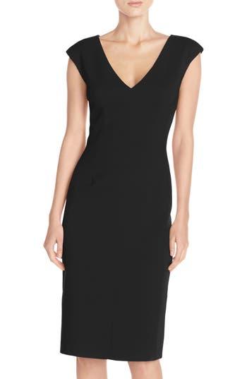 Eliza J Crepe Sheath Dress, Black