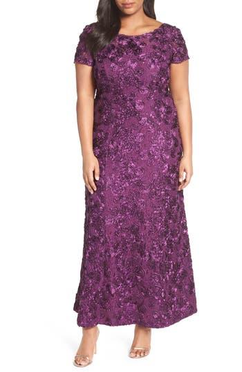 Plus Size Alex Evenings Rosette Lace Short Sleeve A-Line Gown, Purple