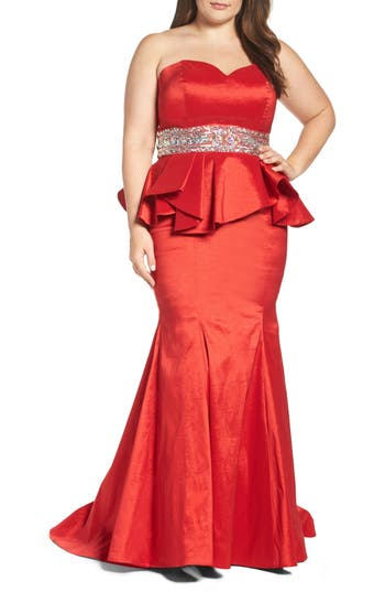 Plus Size MAC Duggal Beaded Bustier Peplum Gown