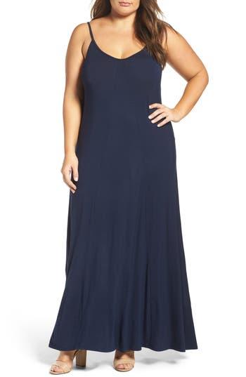 Plus Size Loveappella A-Line Maxi Dress, Blue