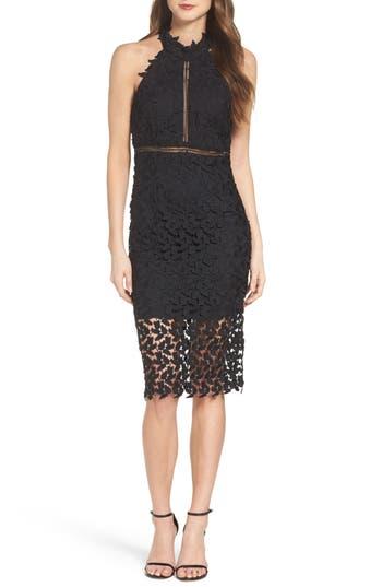 Bardot Gemma Halter Lace Sheath Dress, Black