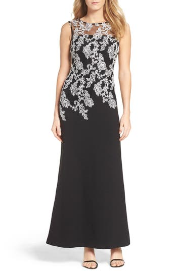 Ellen Tracy Embroidered Crepe Gown