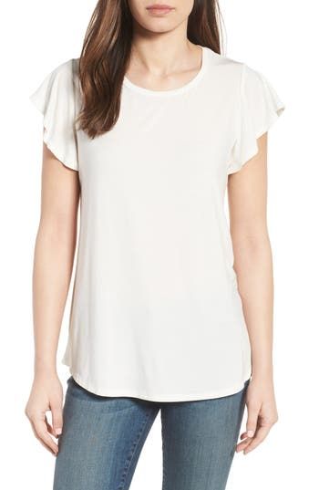Women's Bobeau Flutter Sleeve Tee, Size Medium - White