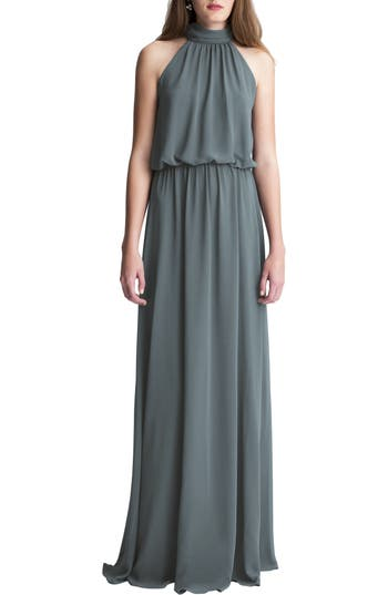 #levkoff High Neck Chiffon A-Line Gown, Grey