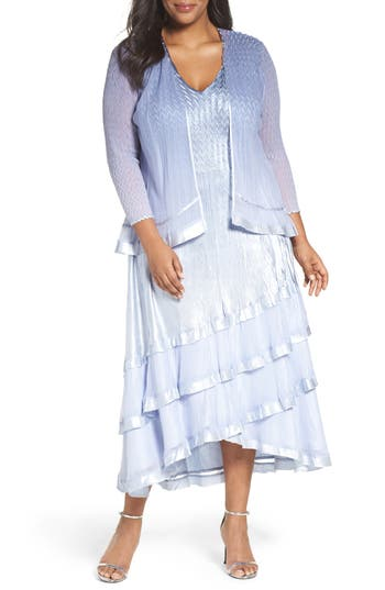 Plus Size Komarov Tiered A-Line Dress With Jacket