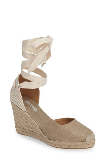 Soludos Wedge Lace-Up Espadrille Sandal, Metallic