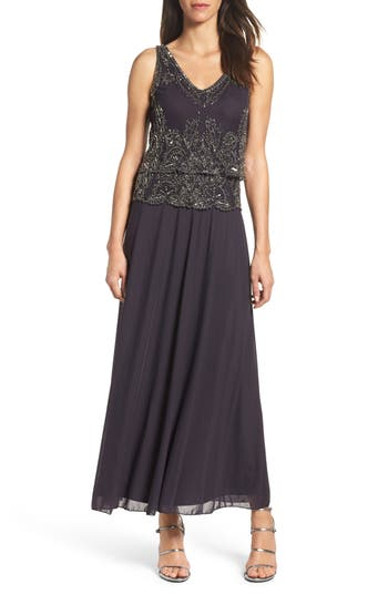 Pisarro Nights Beaded Tiered Popover Gown