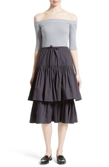 La Vie Rebecca Taylor Mix Media Off The Shoulder Dress
