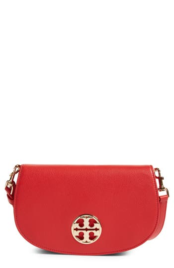 Tory Burch Jamie Convertible Leather Clutch - Red
