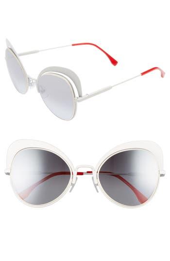 Women's Fendi 54Mm Gradient Cat Eye Sunglasses - White