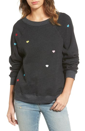 Women's Wildfox Sommers Sweater - Heart Embroidered Pullover