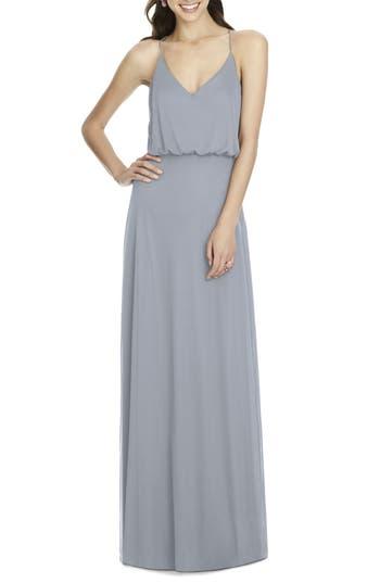 Alfred Sung Chiffon Blouson Gown, Metallic