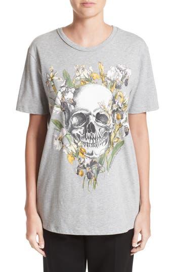 Alexander Mcqueen Skull & Iris Graphic Tee, US / 42 IT - Grey