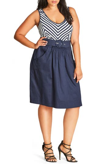 Plus Size City Chic Ahoy Sailor Belted Fit & Flare Dress