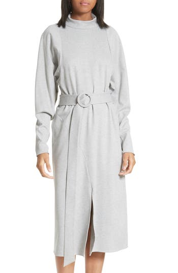 Tibi Dolman Sleeve Stretch Twill Midi Dress, Grey