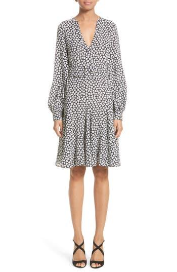 Michael Kors Mini Rose Print Silk Georgette Flirt Dress