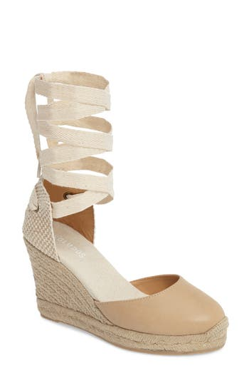 Soludos Lace-Up Espadrille Wedge- Beige
