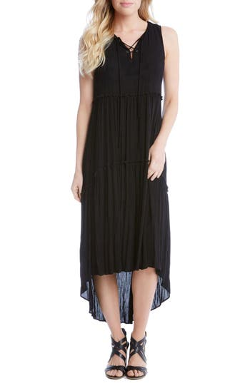 Karen Kane Lace-Up Tiered High/low Dress