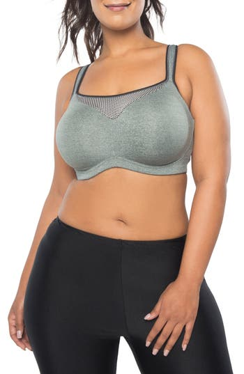 Curvy Couture Ultimate Fit Underwire Sports Bra, Grey