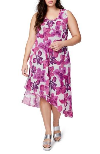 Plus Size Rachel Rachel Roy Asymmetrical Floral Midi Dress, Pink