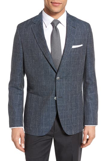 Men's Boss Janson Trim Fit Windowpane Wool Blend Sport Coat
