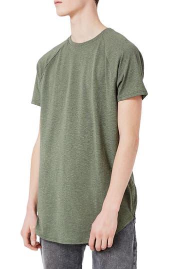 Topman Longline T-Shirt With Side Zips, Green