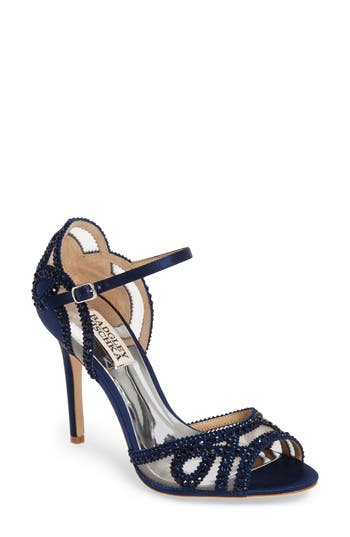 Badgley Mischka Embellished Mesh Sandal, Blue