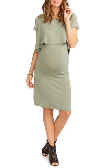 Rosie Pope Anita Popover Maternity Dress, Green