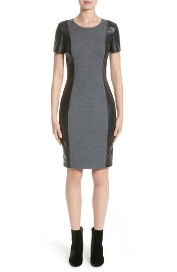 St. John Collection Leather Trim Milano Knit Dress, Grey