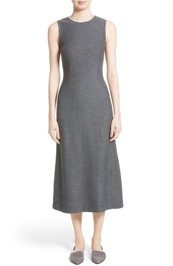 St. John Collection Clair Knit A-Line Midi Dress, Grey