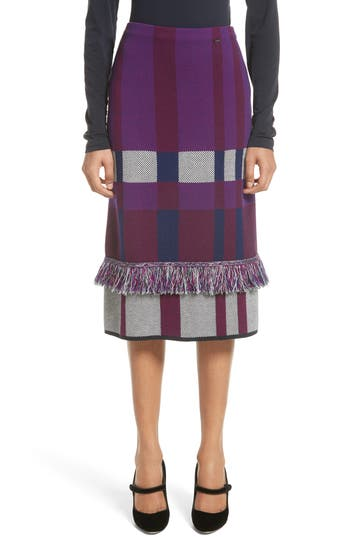 Women's St. John Collection Plaid Jacquard Knit Skirt