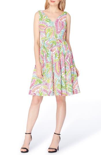 Petite Tahari Cotton Fit & Flare Dress