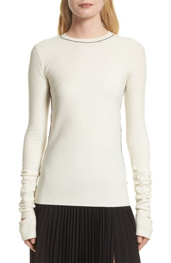 Helmut Lang Slash Cuff Wool Blend Sweater, Ivory