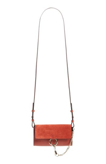 Women's Chloe Mini Faye Suede & Leather Wallet On A Chain - Red