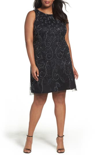 Plus Size Adrianna Papell Beaded A-Line Dress, Black
