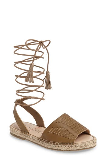 Women's Sole Society Clover Ankle Wrap Espadrille Sandal, Size 5 M - Brown