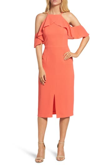 Women's Maggy London Cold Shoulder Shift Dress, Size 8 - Coral