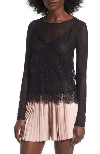 Women's Leith Two-Piece Lace & Mesh Top
