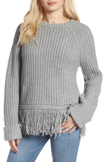 Women's Moon River Fringe Hem Sweater, Size Medium - Grey